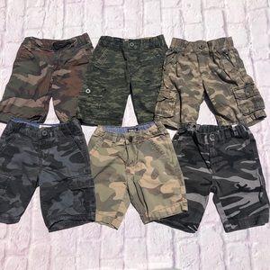 6 pairs of Boys Camo shorts